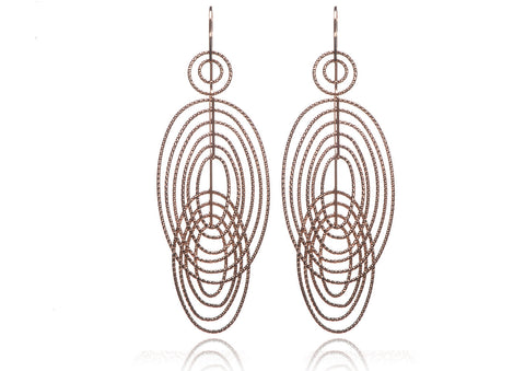 EX-017/R - Double ellipse diamond cut earrings