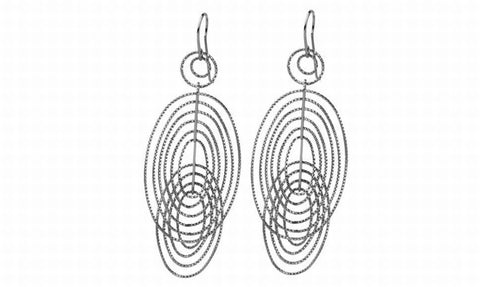 EX-017/S - Double ellipse diamond cut earrings