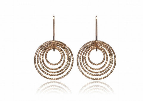 EX-028/G - Small diamond cut single drop hoop earrings.