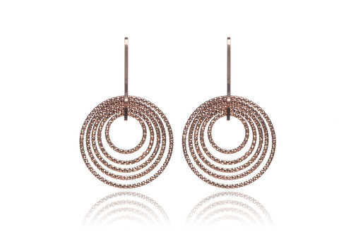 EX-028/R - Small diamond cut single drop hoop earrings.