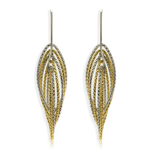EX-033/GS - Multi Ellipse Two Tone Diamond Cut Earrings