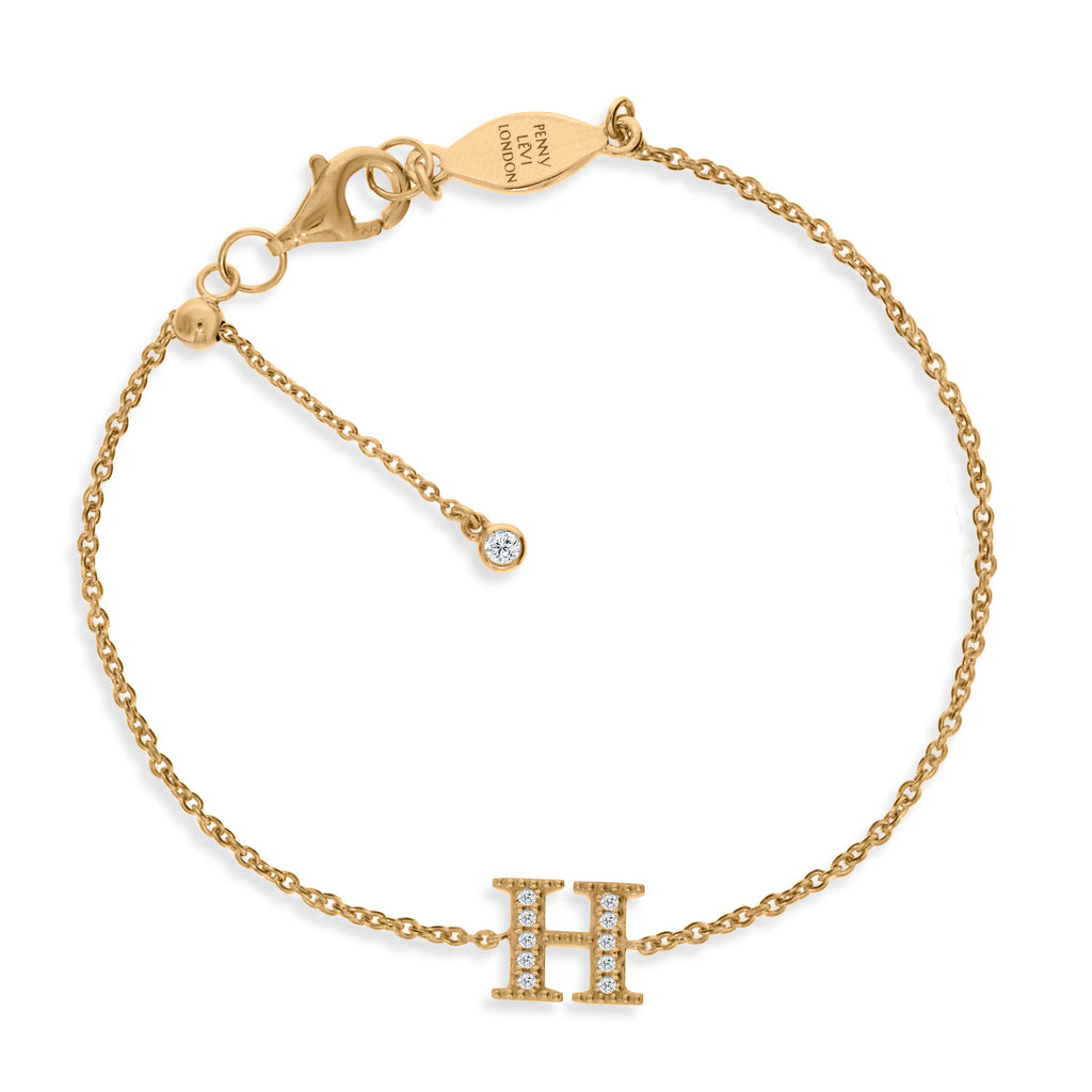 "BT-26/G/H - Initial ""H"" Bracelet adjustable length.(NEW)"