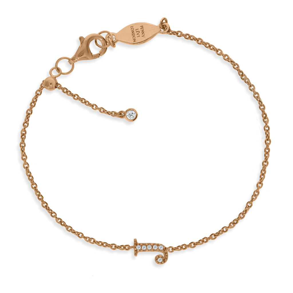 "BT-26/R/J - Initial ""J"" Bracelet adjustable length.(NEW)"