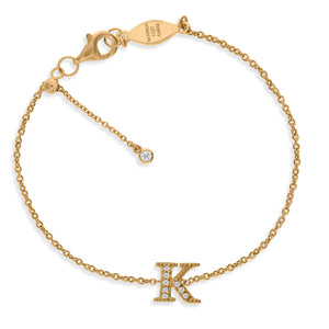 "BT-26/G/K - Initial ""K"" Bracelet Adjustable Size"