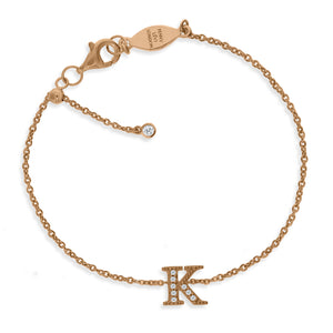 "BT-26/R/K - Initial ""K"" Bracelet Adjustable Size"