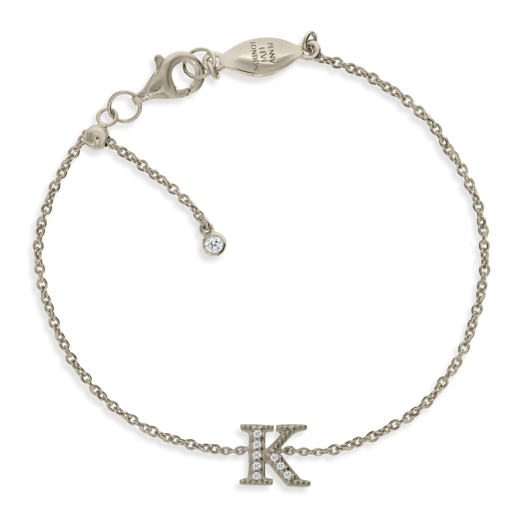"BT-26/S/K - Initial ""K"" Bracelet adjustable length.(NEW)"