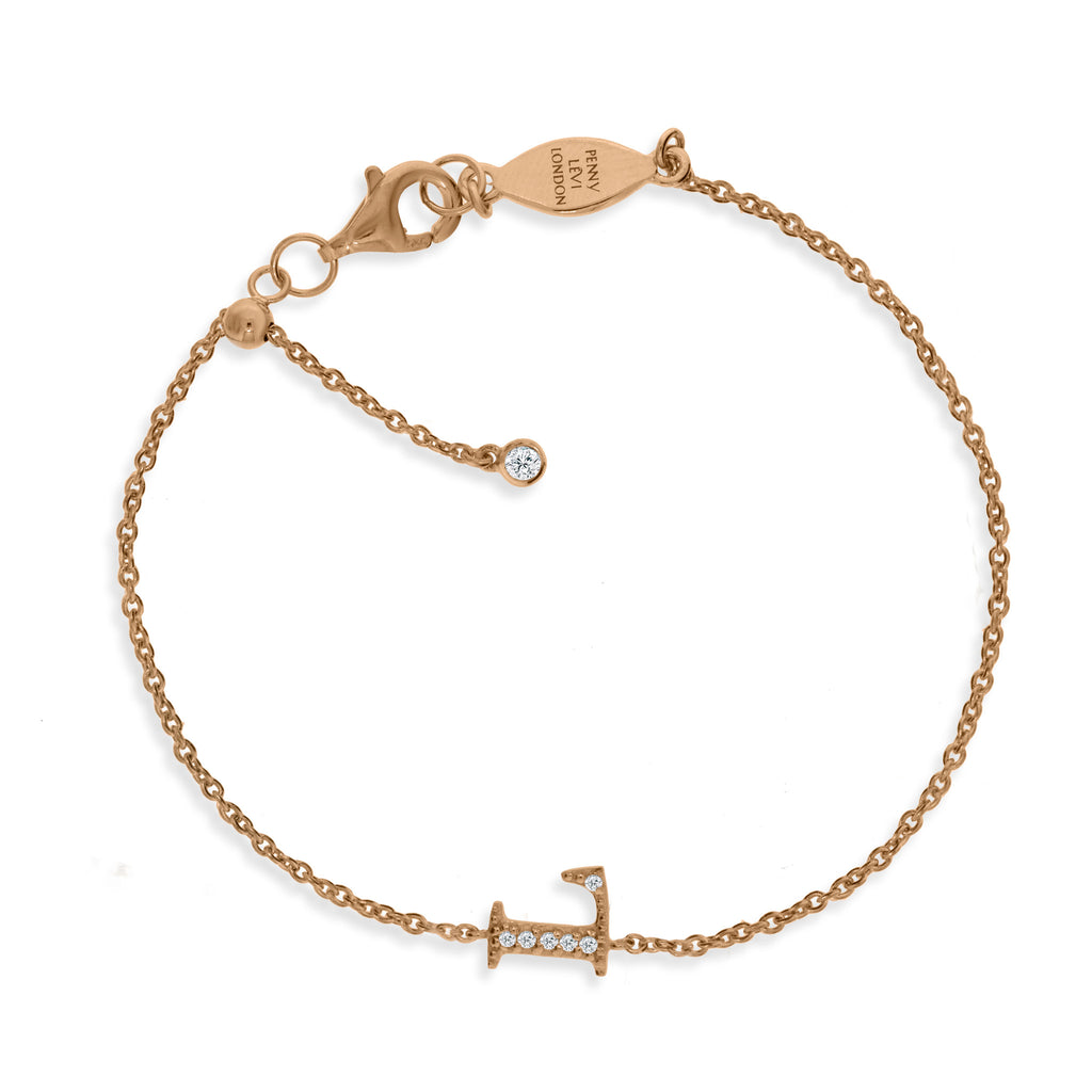 "BT-26/R/L - Initial ""L"" Bracelet adjustable length.(NEW)"