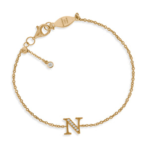 "BT-26/G/N - Initial ""N"" Bracelet Adjustable Size"