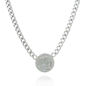 NE-4/S - Thick Short Chain with Coin Pendant
