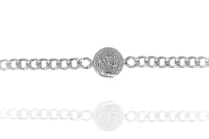 BE-7/S - Extra Wide Chain Bracelet with Coin