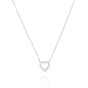 NF-1/S - Chain Pendant with Cubic Zirconia Heart Charm