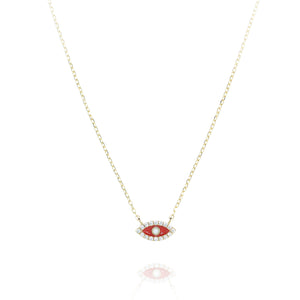 NF-11/GR - Red Evil Eye Pendant Rimmed with Cubic Zirconia