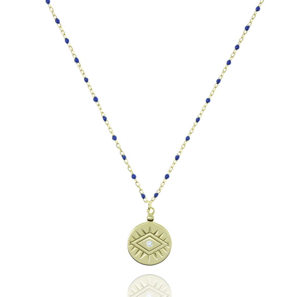 NG-12/GBL - Medium Length Bead and Chain Necklace with a Coin Pendant
