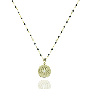 NG-12/GB - Medium Length Bead and Chain Necklace with a Coin Pendant