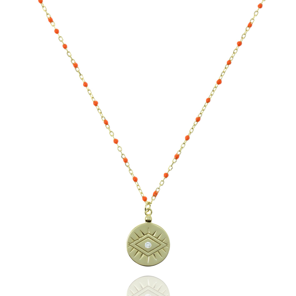 NG-12/GO - Medium Length Bead and Chain Necklace with a Coin Pendant