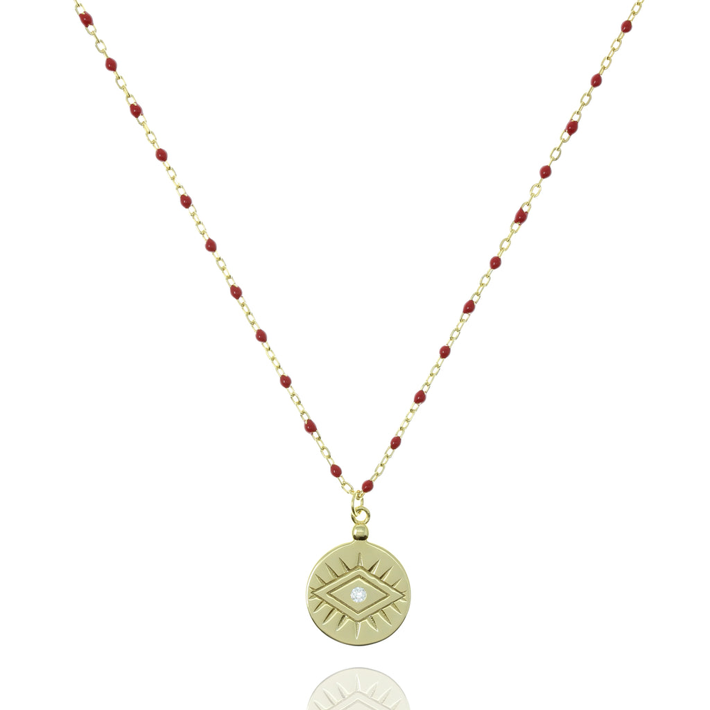 NG-12/GR - Medium Length Bead and Chain Necklace with a Coin Pendant