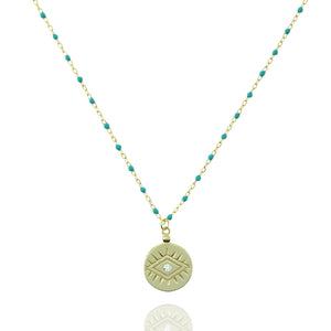NG-12/GT - Medium Length Bead and Chain Necklace with a Coin Pendant
