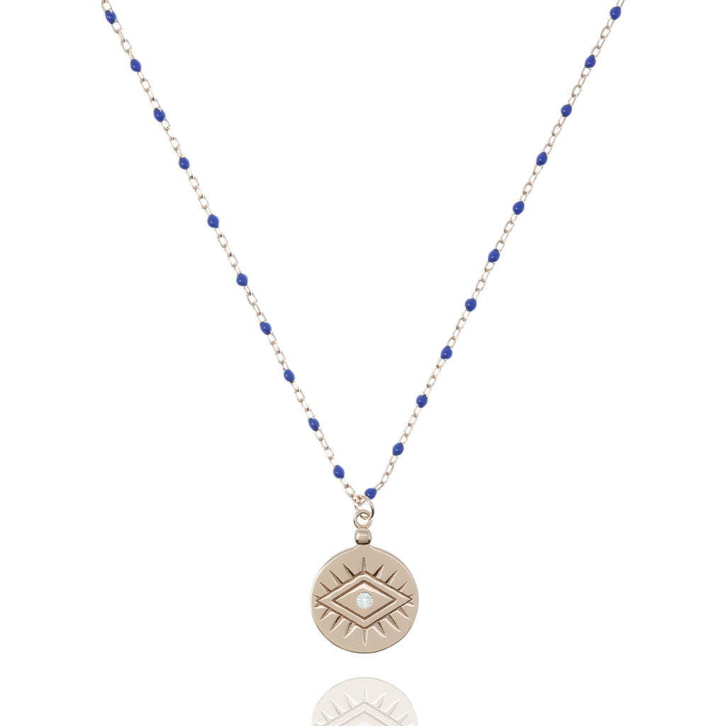 NG-12/RBL - Medium Length Bead and Chain Necklace with a Coin Pendant