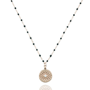 NG-12/RB - Medium Length Bead and Chain Necklace with a Coin Pendant