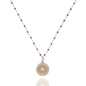 NG-12/RR -  Medium Length Bead and Chain Necklace with a Coin Pendant