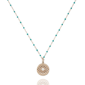 NG-12/RT - Medium Length Bead and Chain Necklace with a Coin Pendant