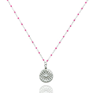 NG-12/SP -  Medium Length Bead and Chain Necklace with a Coin Pendant