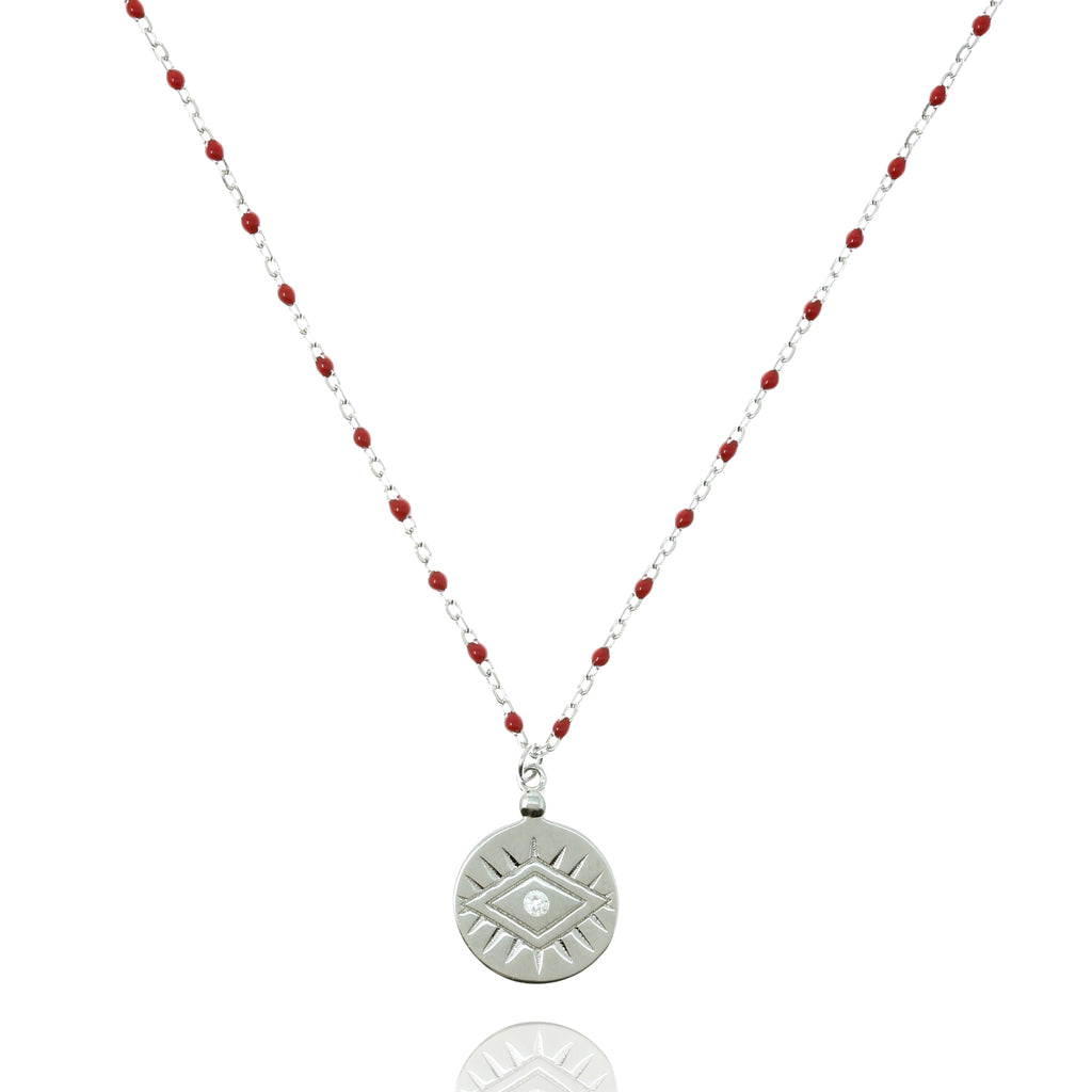 NG-12/SR -  Medium Length Bead and Chain Necklace with a Coin Pendant
