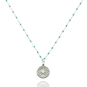 NG-12/ST - Medium Length Bead and Chain Necklace with a Coin Pendant