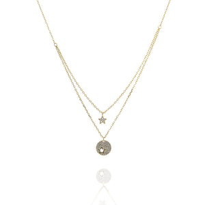 NH-3/G - Double Chain Necklace with Star and Disk Charms