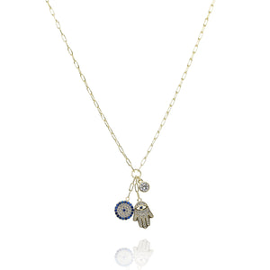 NH-4/G - Chain Necklace with a Bundle of 3 Charms
