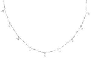 NJ-36/S - Short Chain Necklace with Hanging Cubic Zirconia