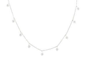 NJ-38/S - Short Chain Necklace with Hanging Cubic Zirconia
