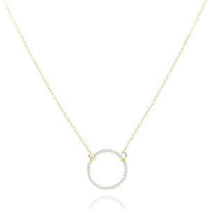 NJ-39/G - Chain Necklace with Circle CZ Element