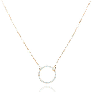 NJ-39/R - Chain Necklace with Circle CZ Element