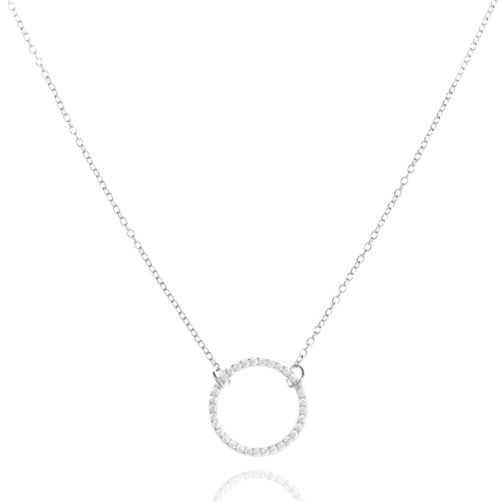 NJ-39/S - Chain Necklace with Circle CZ Element