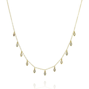 NK-42/G - Short Chain Necklace with hanging CZ