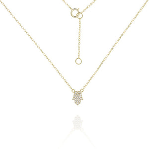 NK-53/G - Delicate Chain Necklace with pave Hamsa pendant