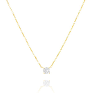 NK-55/G - Chain and Single Cubic Zirconia Necklace