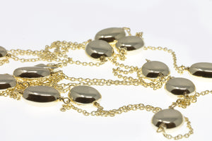 NK-59/G - Long Chain Necklace with Raised Oval Shaped elements