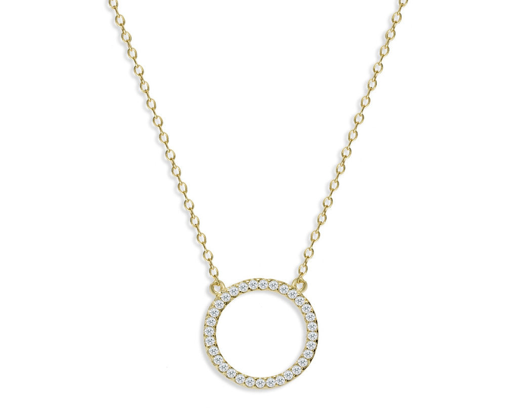 NK-65/G - Chain and hollow pave circle pendant necklace