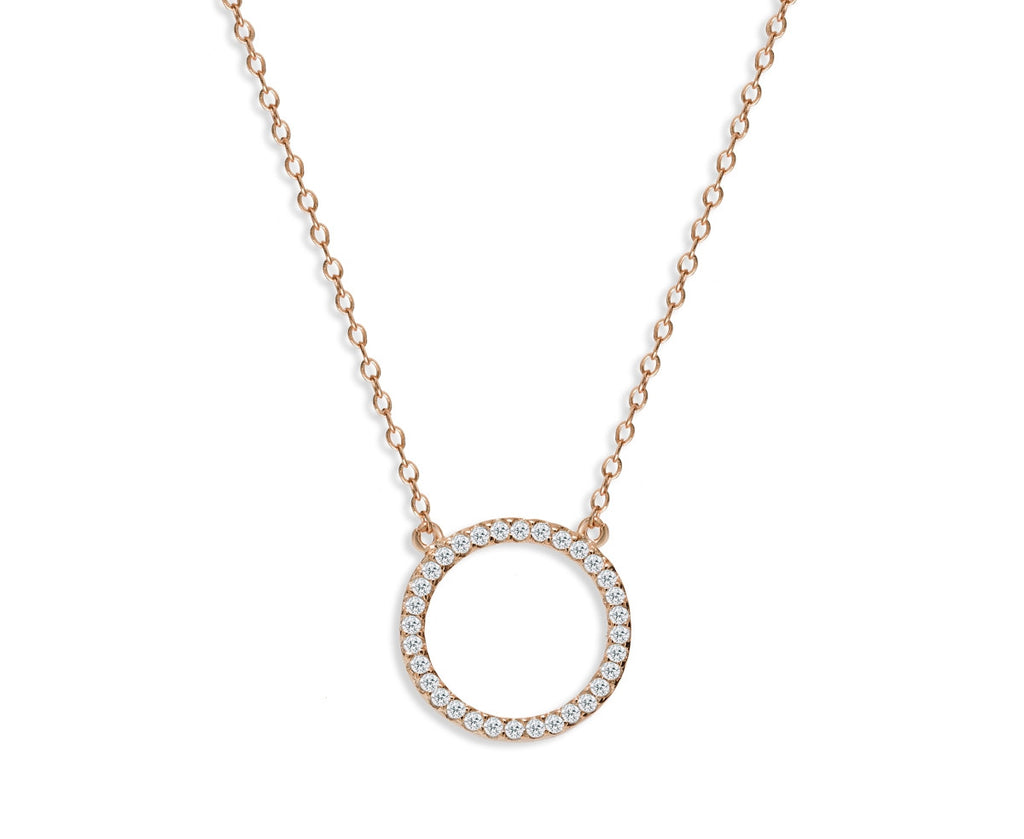NK-65/R - Chain and hollow pave circle pendant necklace