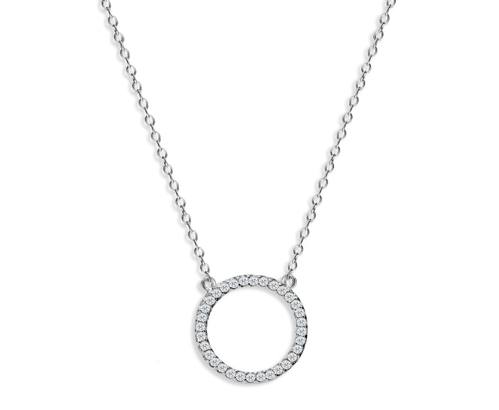NK-65/S - Chain and hollow pave circle pendant necklace