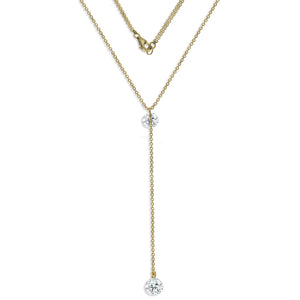 NK-67/G - Lariat Style Chain Necklace with Cubic Zirconia