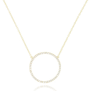 NK-68/G - Chain and Cubic Zirconia Rimmed Circle