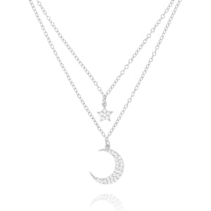 NK-77/S - Double Chain and Pendant Moon and Star necklace