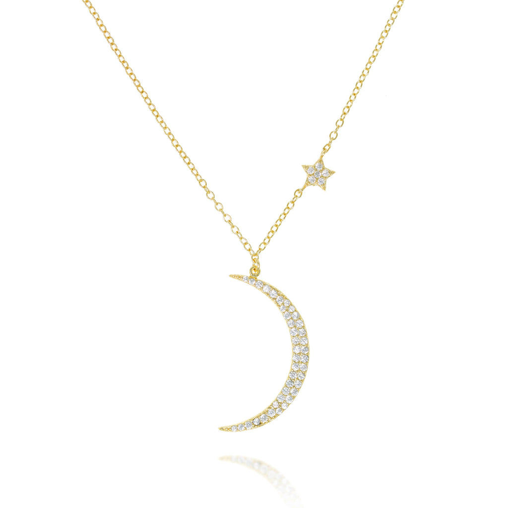 NK-78/G - Chain and Moon Pendant with small  Star