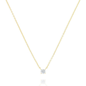 NK-79/G - Chain and Single Cubic Zirconia Necklace