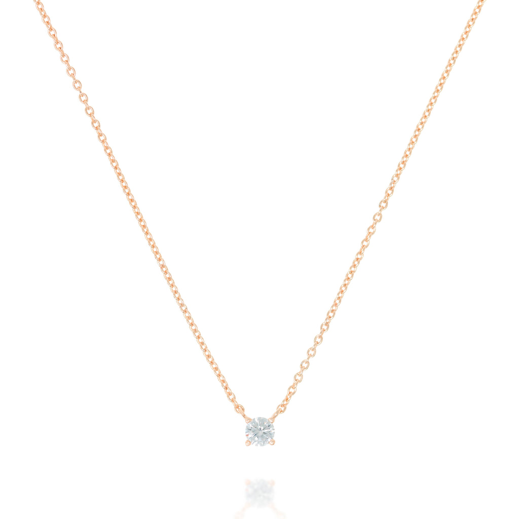 NK-79/R  - Chain and Single Cubic Zirconia Necklace
