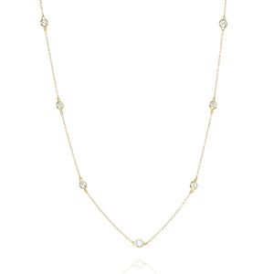 NK-81/G - Long Chain Necklace with Cubic Zirconia