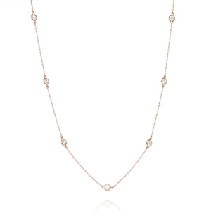 NK-81/R - Long Chain Necklace with Cubic Zirconia
